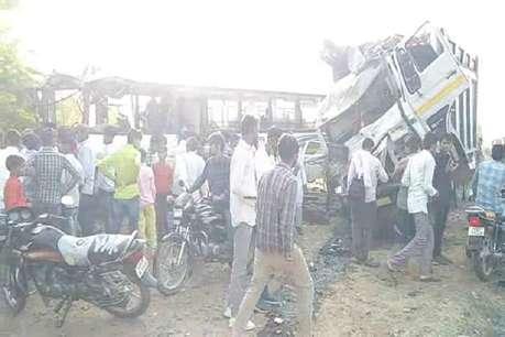नूंह में राजस्थान रोडवेज बस और डंपर की टक्कर, 1 महिला की मौत, 50 लोग घायल