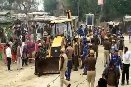 मंत्री से गुस्साए ग्रामीणों ने NH किया जाम, पुलिस-पब्लिक के बीच तीखी झड़प व पथराव