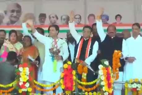 राहुल गांधी ने मंच पर गले लगाकर किया मनीष खंडूड़ी का कांग्रेस में स्वागत