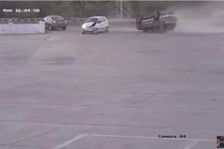 Santro ने मारी टक्कर तो पलट गई दो हज़ार किलो की SUV, देखें वीडियो