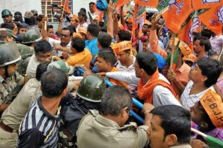 BJP के विजय जुलूस को पुलिस ने रोका,  हिंसक झड़प में SI सहित 3 घायल
