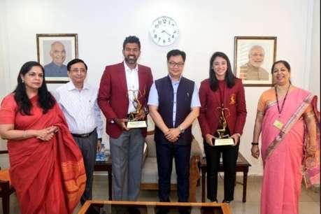 खेल मंत्री ने किया स्मृति मंधाना और रोहन बोपन्ना को अर्जुन अवॉर्ड से सम्मानित