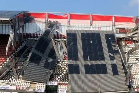 तेज हवाओं के कारण उड़ी स्टेडियम की छत, मैच टले