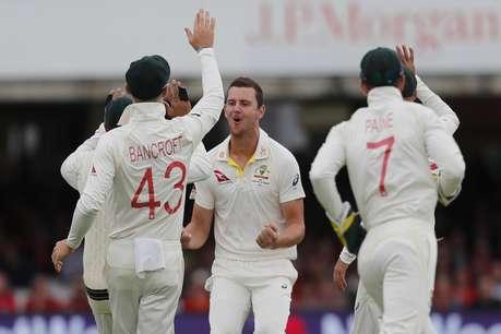Ashes : लॉर्ड्स टेस्ट में ऑस्ट्रेलिया का दबदबा, हेजलवुड की दमदार वापसी