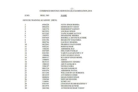 UPSC: कंबाइंड डिफेंस सर्विस एग्जाम (II) 2018 का रिजल्ट जारी, चेक करें अपना नाम