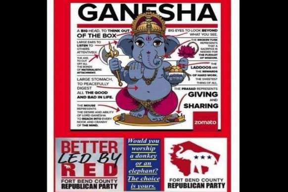 अमेरिका: भगवान गणेश के विवादित विज्ञापन पर रिपब्लिकन पार्टी ने मांगी हिंदुओं से माफी