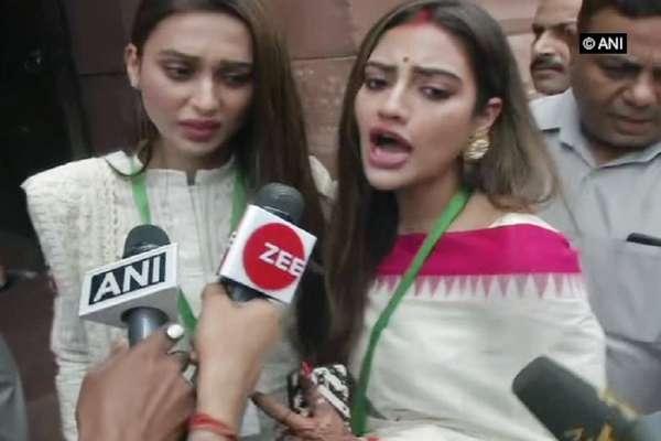 संसद से बाहर निकलकर भड़कीं TMC सांसद नुसरत, कहा-धक्का मत दो